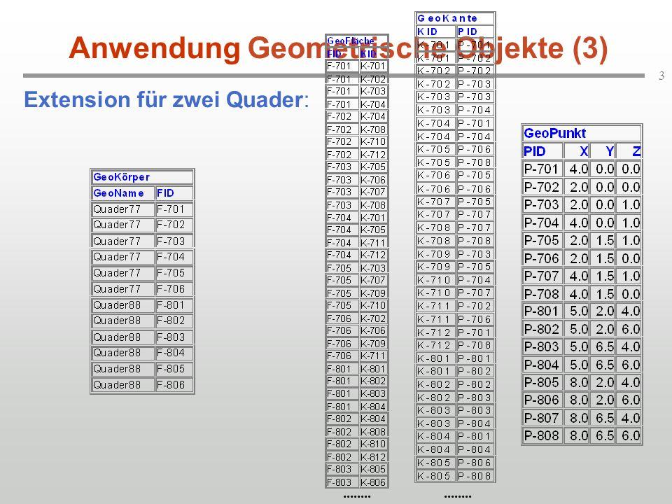 3 Extension für zwei Quader: Anwendung Geometrische Objekte (3)........