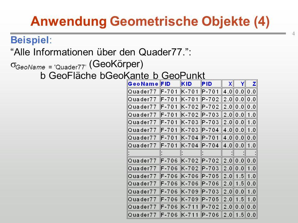 """4 Beispiel: """"Alle Informationen über den Quader77."""":  GeoName = 'Quader77' (GeoKörper) b GeoFläche bGeoKante b GeoPunkt Anwendung Geometrische Objekt"""