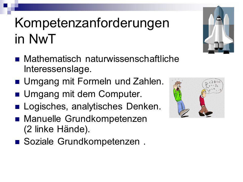 Kompetenzanforderungen in NwT Mathematisch naturwissenschaftliche Interessenslage. Umgang mit Formeln und Zahlen. Umgang mit dem Computer. Logisches,
