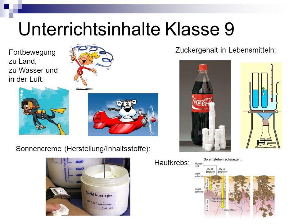 Unterrichtsinhalte Klasse 9 Sonnencreme (Herstellung/Inhaltsstoffe): Zuckergehalt in Lebensmitteln: Hautkrebs: Fortbewegung zu Land, zu Wasser und in