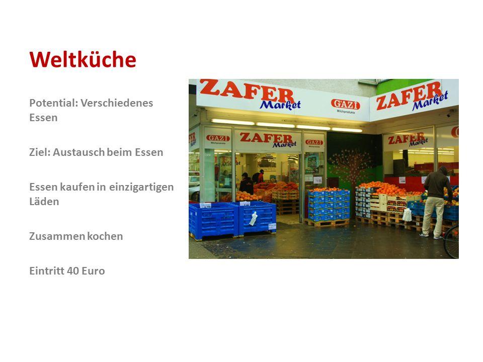 Weltküche Potential: Verschiedenes Essen Ziel: Austausch beim Essen Essen kaufen in einzigartigen Läden Zusammen kochen Eintritt 40 Euro