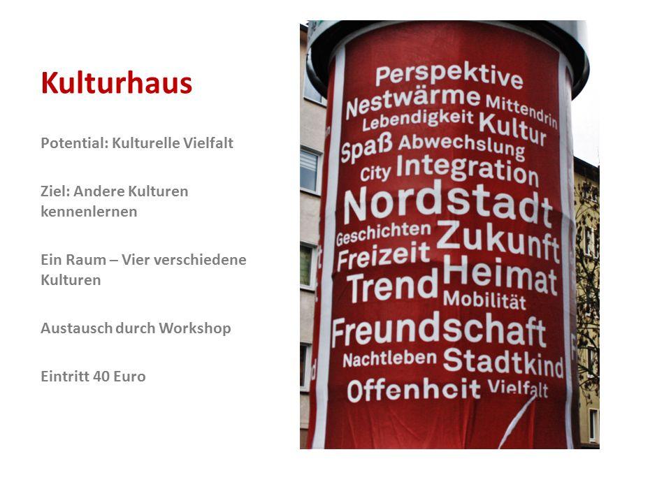 Kulturhaus Potential: Kulturelle Vielfalt Ziel: Andere Kulturen kennenlernen Ein Raum – Vier verschiedene Kulturen Austausch durch Workshop Eintritt 40 Euro