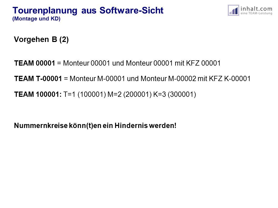 Tourenplanung aus Software-Sicht (Montage und KD) Vorgehen B (2) TEAM 00001 = Monteur 00001 und Monteur 00001 mit KFZ 00001 TEAM T-00001 = Monteur M-00001 und Monteur M-00002 mit KFZ K-00001 TEAM 100001: T=1 (100001) M=2 (200001) K=3 (300001) Nummernkreise könn(t)en ein Hindernis werden!