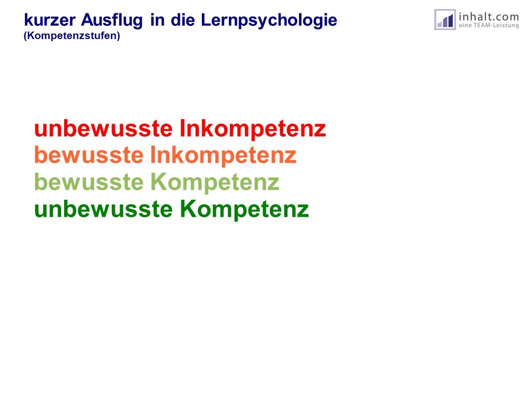 kurzer Ausflug in die Lernpsychologie (Kompetenzstufen) unbewusste Inkompetenz bewusste Inkompetenz bewusste Kompetenz unbewusste Kompetenz