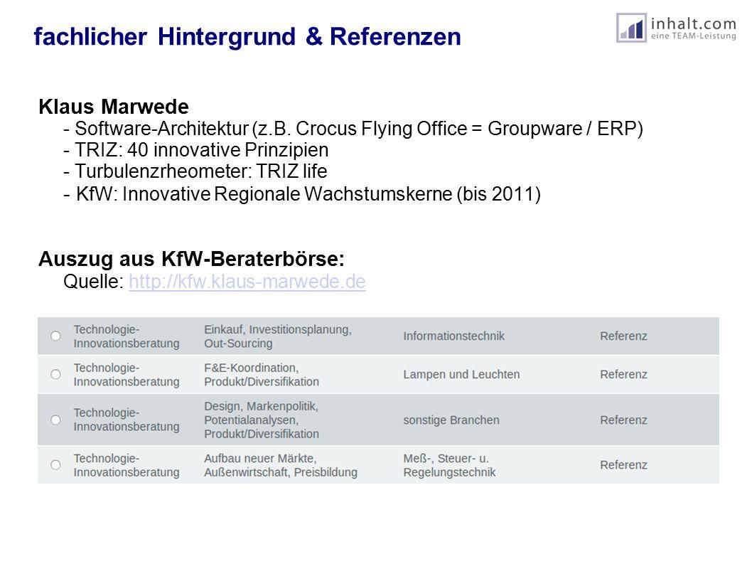 fachlicher Hintergrund & Referenzen Dr.Wolfgang Reuter - ehem.