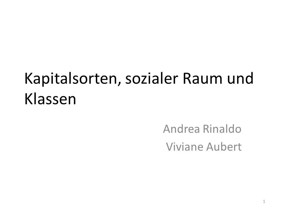 Kapitalsorten, sozialer Raum und Klassen Andrea Rinaldo Viviane Aubert 1