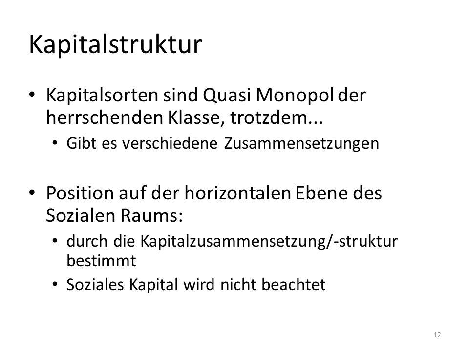 Kapitalstruktur Kapitalsorten sind Quasi Monopol der herrschenden Klasse, trotzdem... Gibt es verschiedene Zusammensetzungen Position auf der horizont