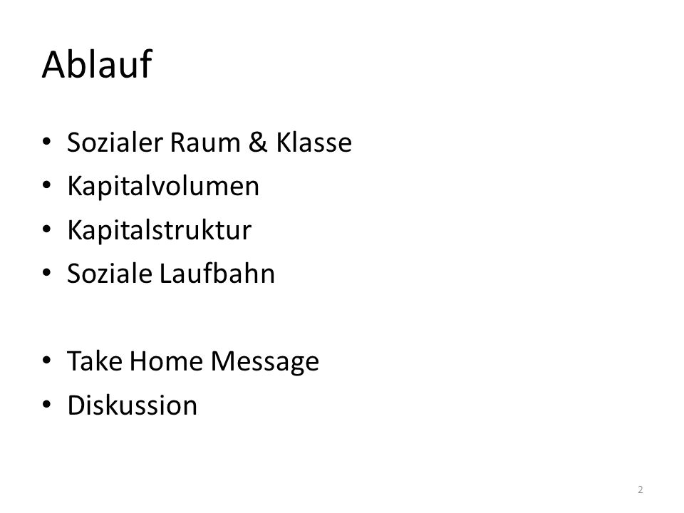 Ablauf Sozialer Raum & Klasse Kapitalvolumen Kapitalstruktur Soziale Laufbahn Take Home Message Diskussion 2