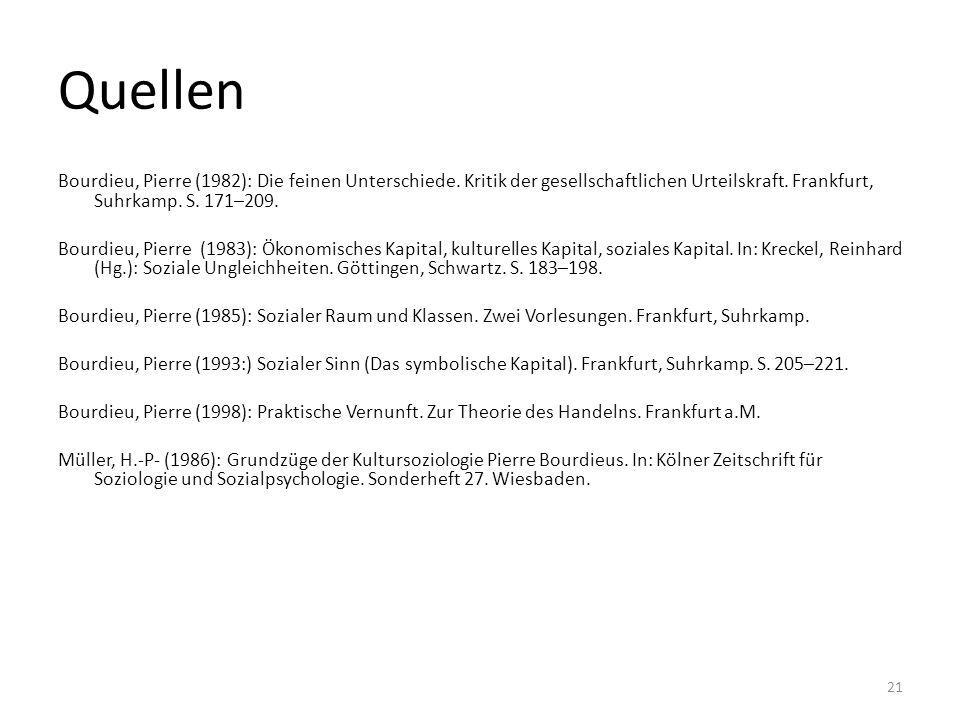 Quellen Bourdieu, Pierre (1982): Die feinen Unterschiede. Kritik der gesellschaftlichen Urteilskraft. Frankfurt, Suhrkamp. S. 171–209. Bourdieu, Pierr
