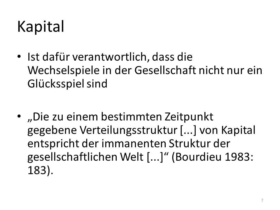 """Kapital Ist dafür verantwortlich, dass die Wechselspiele in der Gesellschaft nicht nur ein Glücksspiel sind """"Die zu einem bestimmten Zeitpunkt gegebene Verteilungsstruktur [...] von Kapital entspricht der immanenten Struktur der gesellschaftlichen Welt [...] (Bourdieu 1983: 183)."""