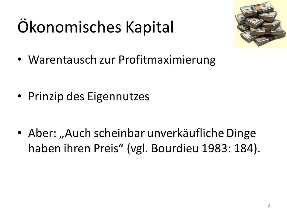 """Ökonomisches Kapital Warentausch zur Profitmaximierung Prinzip des Eigennutzes Aber: """"Auch scheinbar unverkäufliche Dinge haben ihren Preis"""" (vgl. Bou"""