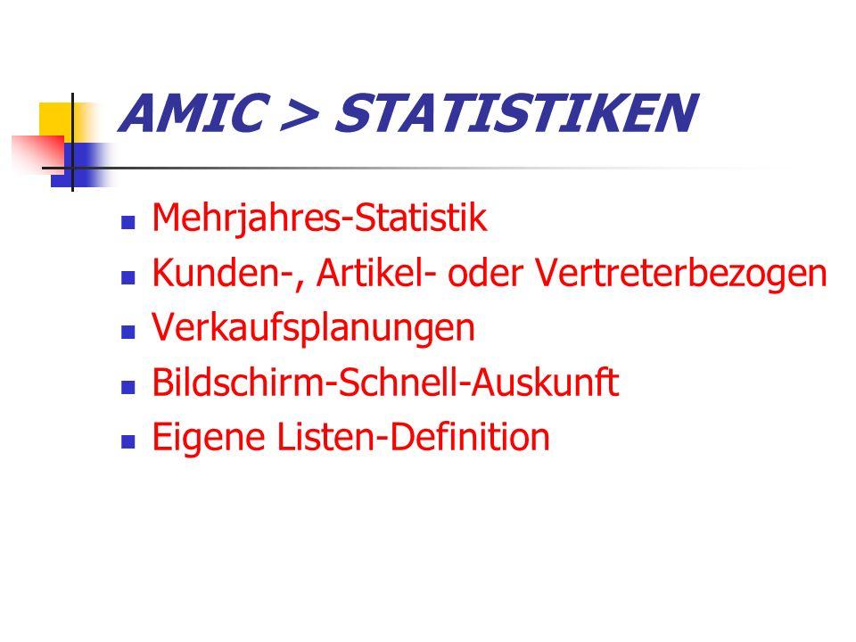 AMIC > STATISTIKEN Mehrjahres-Statistik Kunden-, Artikel- oder Vertreterbezogen Verkaufsplanungen Bildschirm-Schnell-Auskunft Eigene Listen-Definition