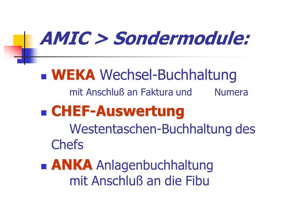 AMIC > Sondermodule: WEKA Wechsel-Buchhaltung mit Anschluß an Faktura und Numera CHEF-Auswertung CHEF-Auswertung Westentaschen-Buchhaltung des Chefs ANKA ANKA Anlagenbuchhaltung mit Anschluß an die Fibu