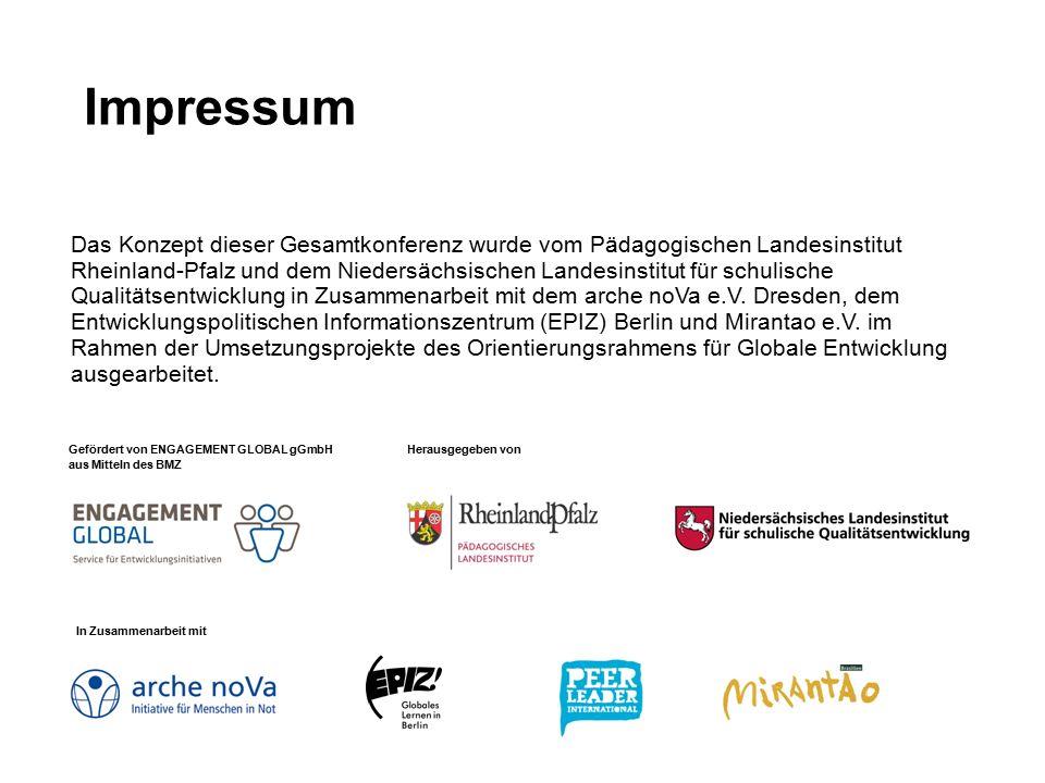 Impressum Das Konzept dieser Gesamtkonferenz wurde vom Pädagogischen Landesinstitut Rheinland-Pfalz und dem Niedersächsischen Landesinstitut für schulische Qualitätsentwicklung in Zusammenarbeit mit dem arche noVa e.V.