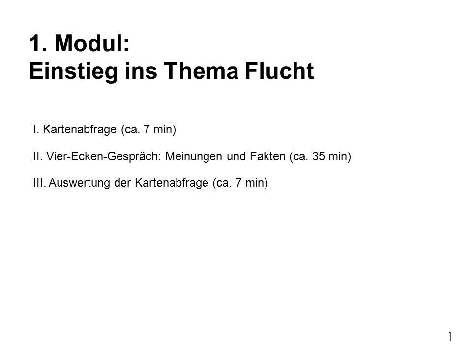 1. Modul: Einstieg ins Thema Flucht I. Kartenabfrage (ca.