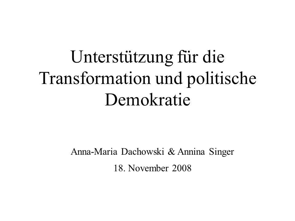 Unterstützung für die Transformation und politische Demokratie Anna-Maria Dachowski & Annina Singer 18. November 2008