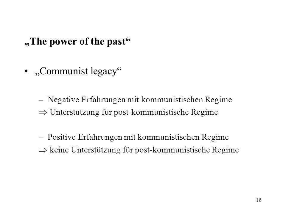 """18 """"The power of the past"""" """"Communist legacy"""" –Negative Erfahrungen mit kommunistischen Regime  Unterstützung für post-kommunistische Regime –Positiv"""
