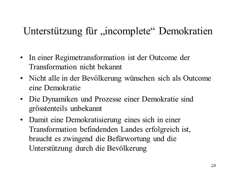 """26 Unterstützung für """"incomplete"""" Demokratien In einer Regimetransformation ist der Outcome der Transformation nicht bekannt Nicht alle in der Bevölke"""