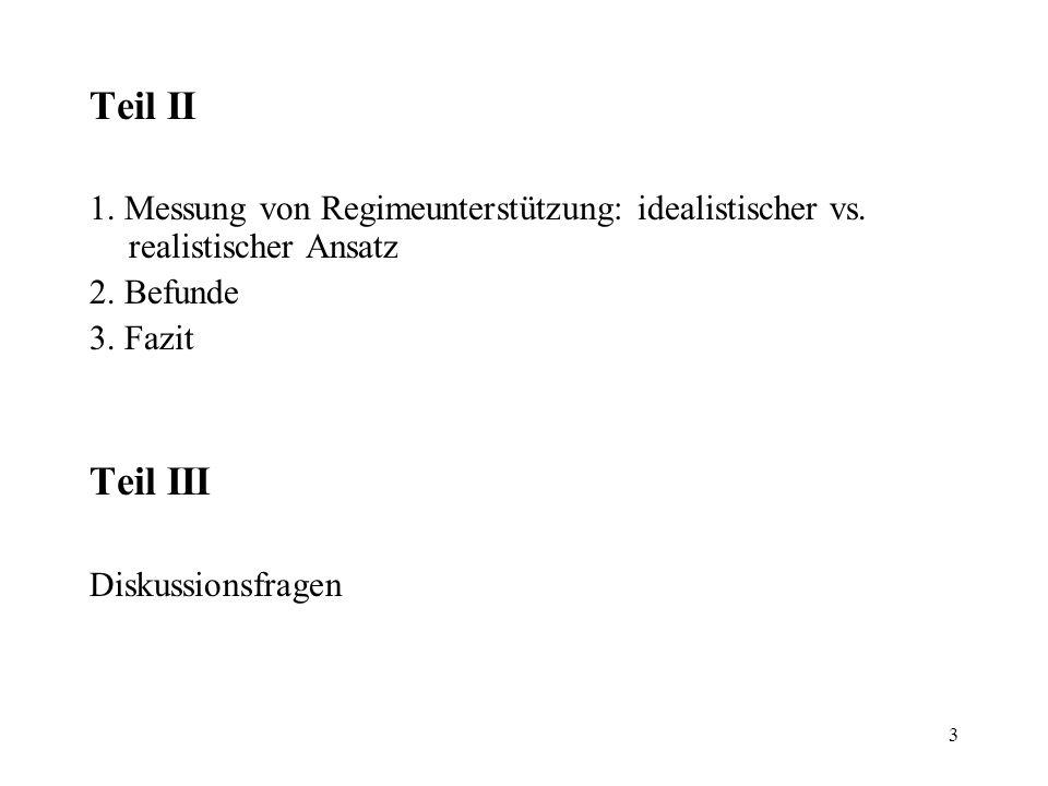 3 Teil II 1. Messung von Regimeunterstützung: idealistischer vs. realistischer Ansatz 2. Befunde 3. Fazit Teil III Diskussionsfragen
