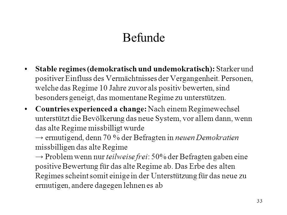 33 Befunde Stable regimes (demokratisch und undemokratisch): Starker und positiver Einfluss des Vermächtnisses der Vergangenheit. Personen, welche das