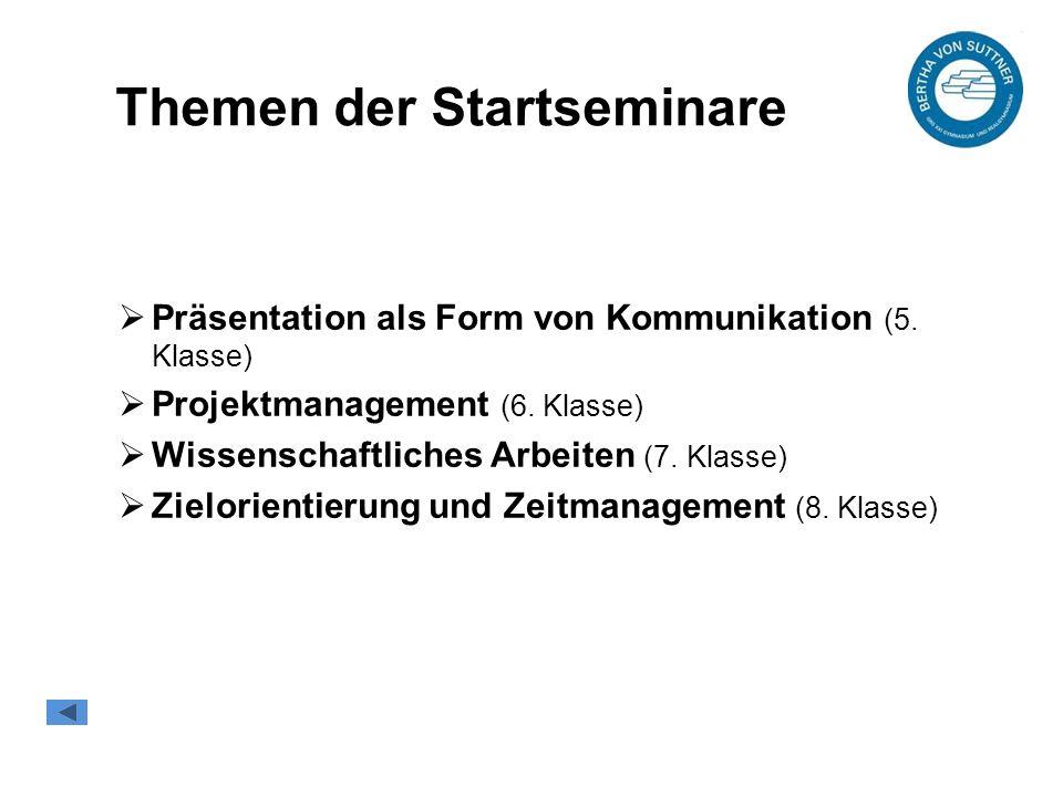 Themen der Startseminare  Präsentation als Form von Kommunikation (5.