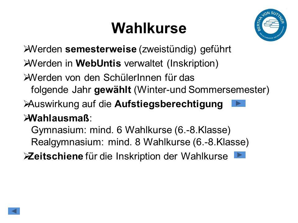 Wahlkurse  Werden semesterweise (zweistündig) geführt  Werden in WebUntis verwaltet (Inskription)  Werden von den SchülerInnen für das folgende Jahr gewählt (Winter-und Sommersemester)  Auswirkung auf die Aufstiegsberechtigung  Wahlausmaß: Gymnasium: mind.