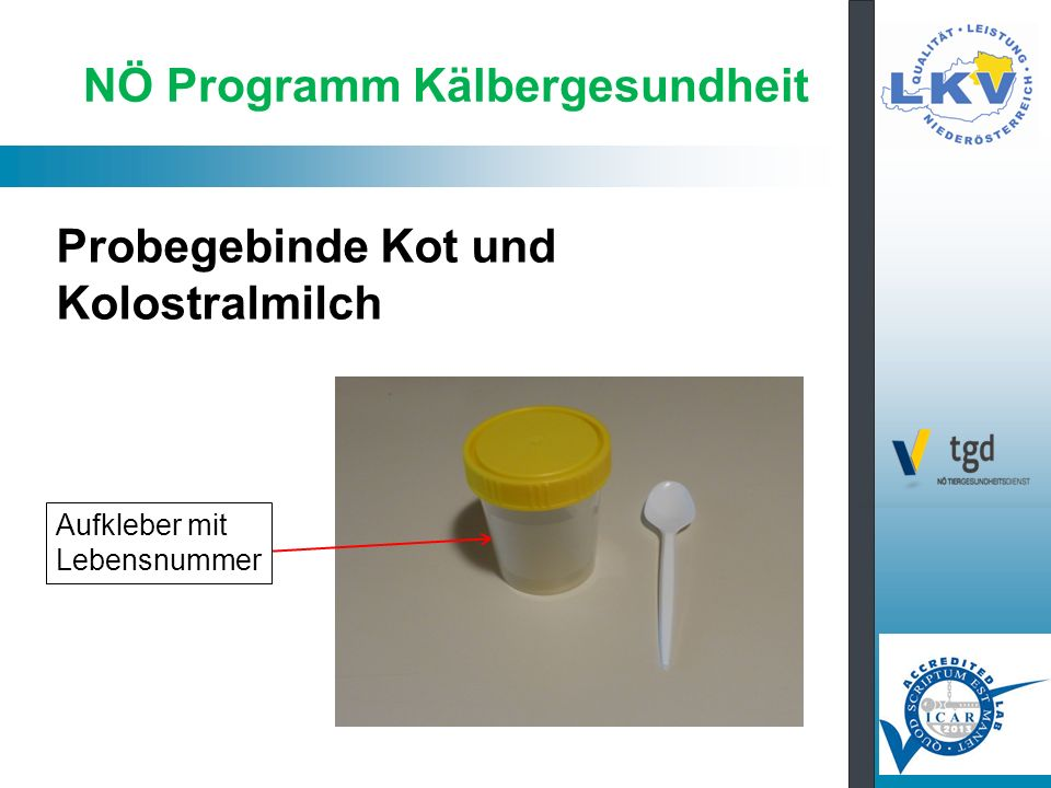 Probegebinde Kot und Kolostralmilch NÖ Programm Kälbergesundheit Aufkleber mit Lebensnummer