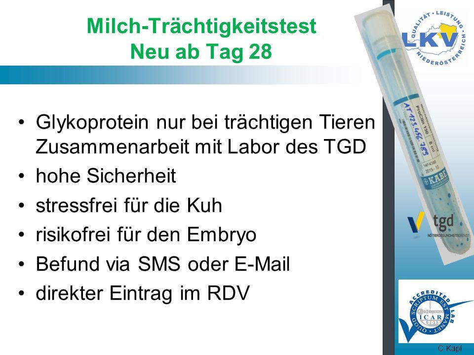 Milch-Trächtigkeitstest Neu ab Tag 28 Glykoprotein nur bei trächtigen Tieren Zusammenarbeit mit Labor des TGD hohe Sicherheit stressfrei für die Kuh risikofrei für den Embryo Befund via SMS oder E-Mail direkter Eintrag im RDV C.Kapl