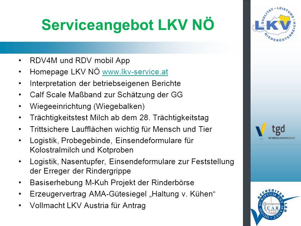 Serviceangebot LKV NÖ RDV4M und RDV mobil App Homepage LKV NÖ www.lkv-service.atwww.lkv-service.at Interpretation der betriebseigenen Berichte Calf Scale Maßband zur Schätzung der GG Wiegeeinrichtung (Wiegebalken) Trächtigkeitstest Milch ab dem 28.