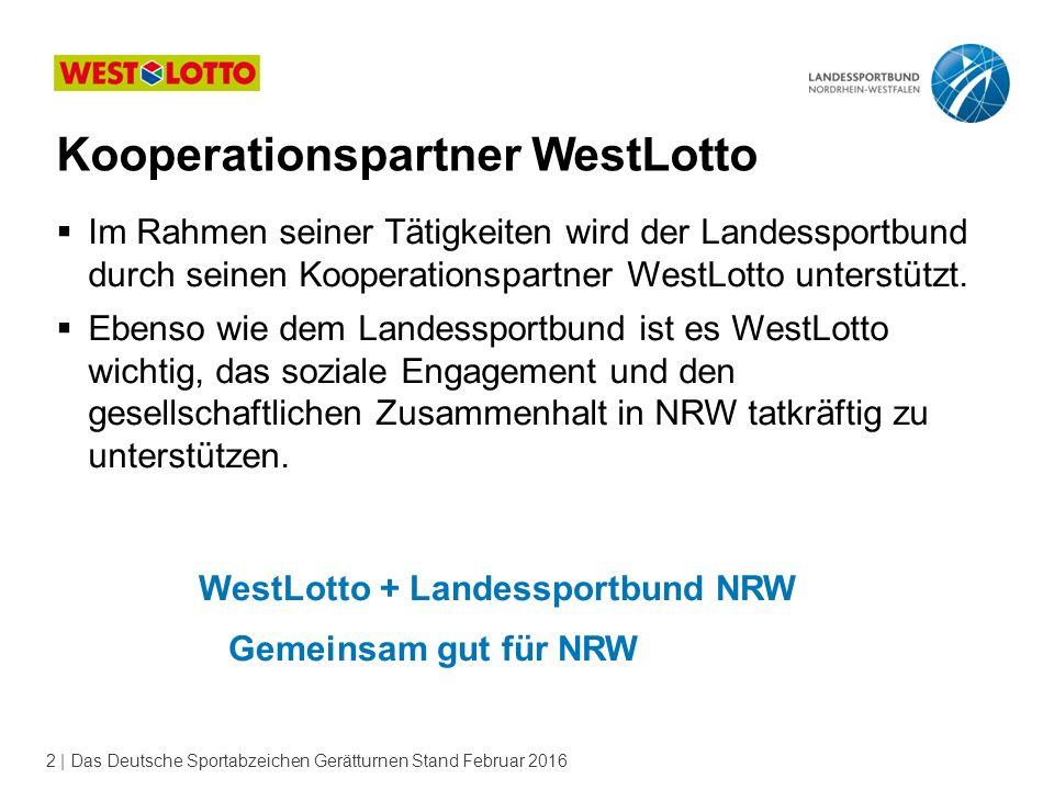 2 | Das Deutsche Sportabzeichen Gerätturnen Stand Februar 2016  Im Rahmen seiner Tätigkeiten wird der Landessportbund durch seinen Kooperationspartne