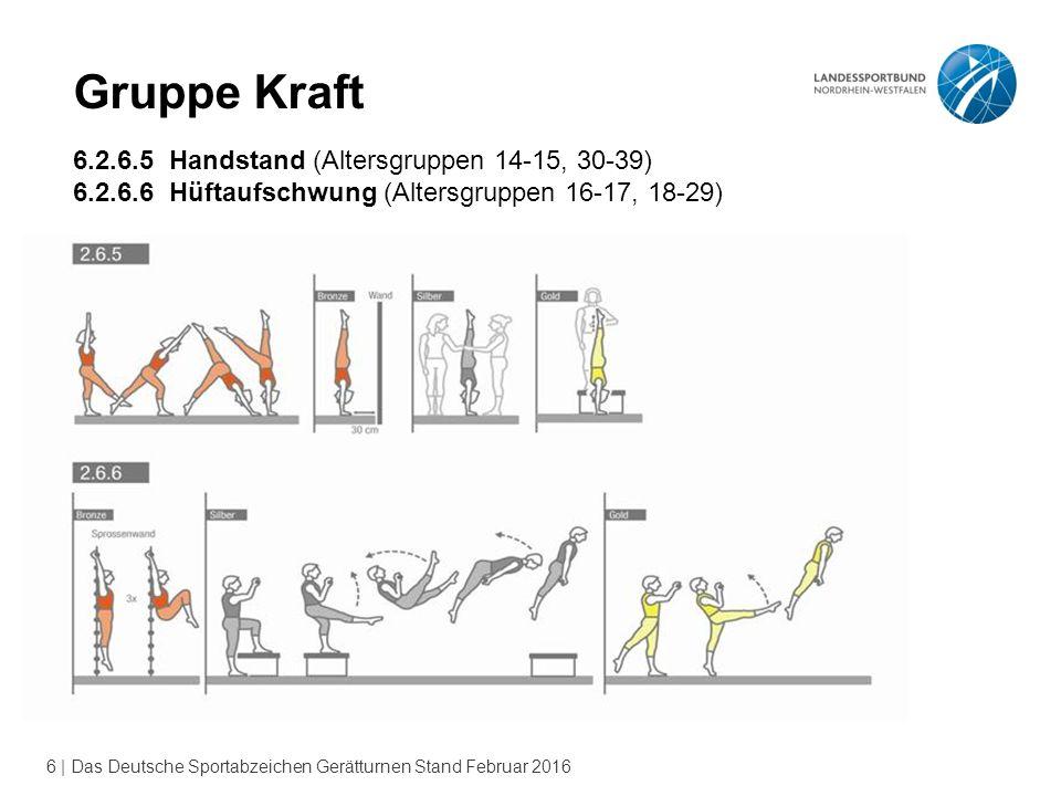 6 | Das Deutsche Sportabzeichen Gerätturnen Stand Februar 2016 Gruppe Kraft 6.2.6.5 Handstand (Altersgruppen 14-15, 30-39) 6.2.6.6 Hüftaufschwung (Alt
