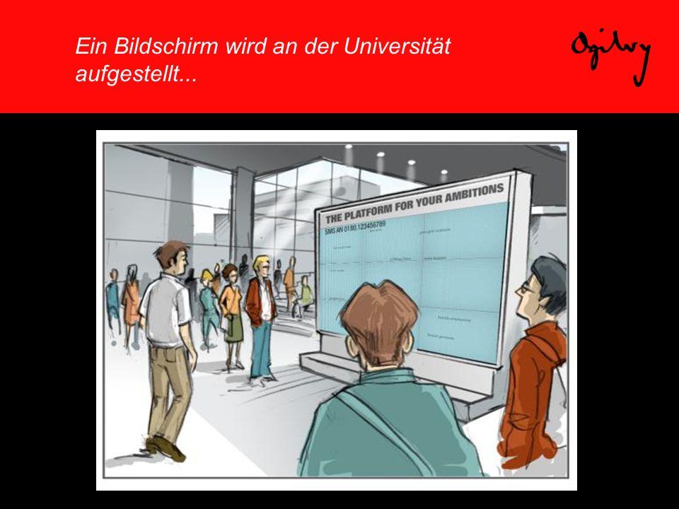 Ein Bildschirm wird an der Universität aufgestellt...