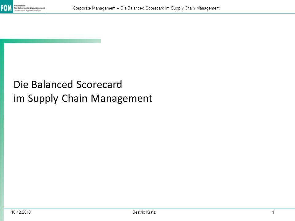 10.12.2010 Beatrix Kratz 1 Corporate Management – Die Balanced Scorecard im Supply Chain Management Die Balanced Scorecard im Supply Chain Management