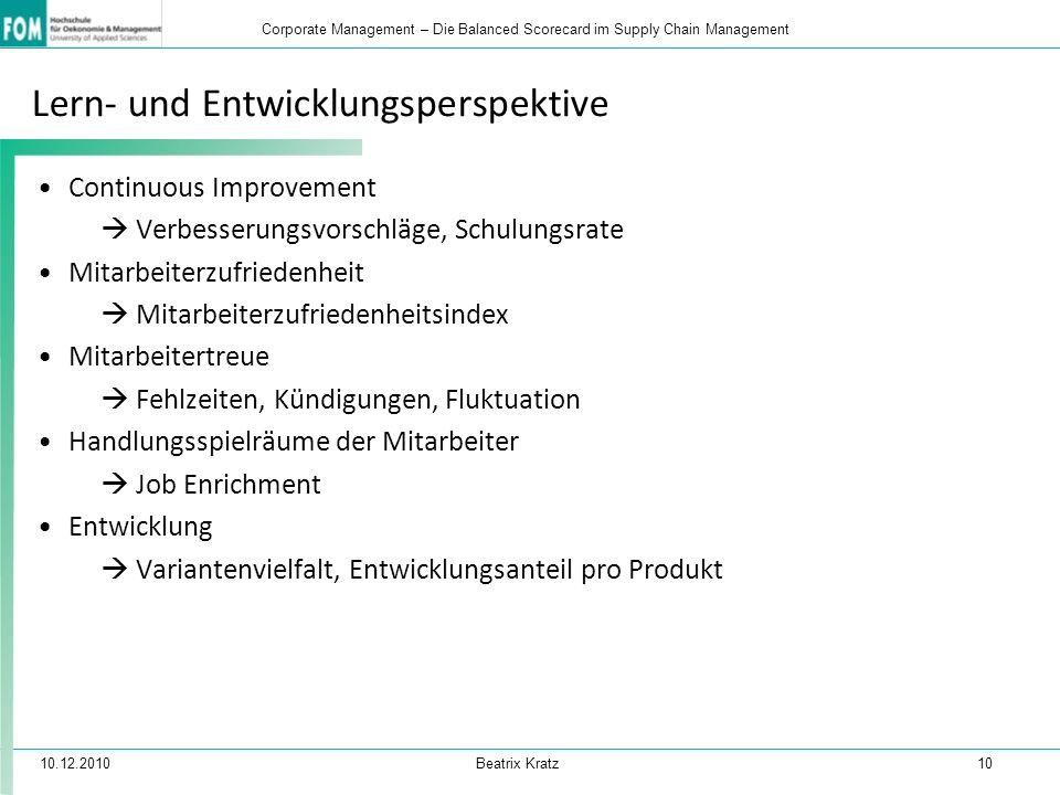 10.12.2010 Beatrix Kratz 10 Corporate Management – Die Balanced Scorecard im Supply Chain Management Lern- und Entwicklungsperspektive Continuous Impr
