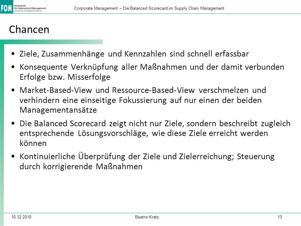 10.12.2010 Beatrix Kratz 13 Corporate Management – Die Balanced Scorecard im Supply Chain Management Chancen Ziele, Zusammenhänge und Kennzahlen sind