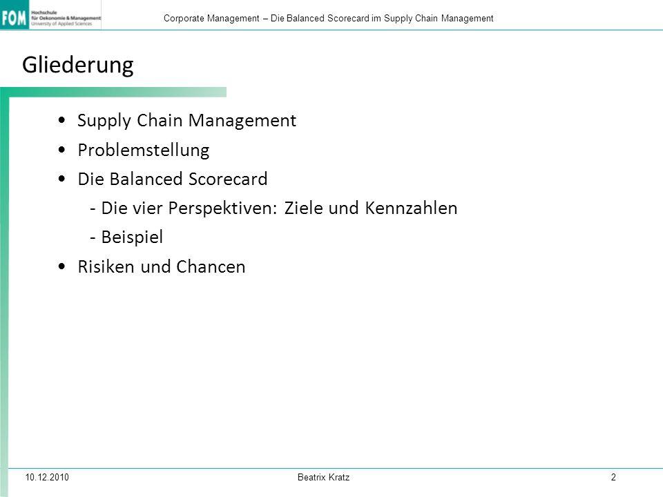10.12.2010 Beatrix Kratz 13 Corporate Management – Die Balanced Scorecard im Supply Chain Management Chancen Ziele, Zusammenhänge und Kennzahlen sind schnell erfassbar Konsequente Verknüpfung aller Maßnahmen und der damit verbunden Erfolge bzw.