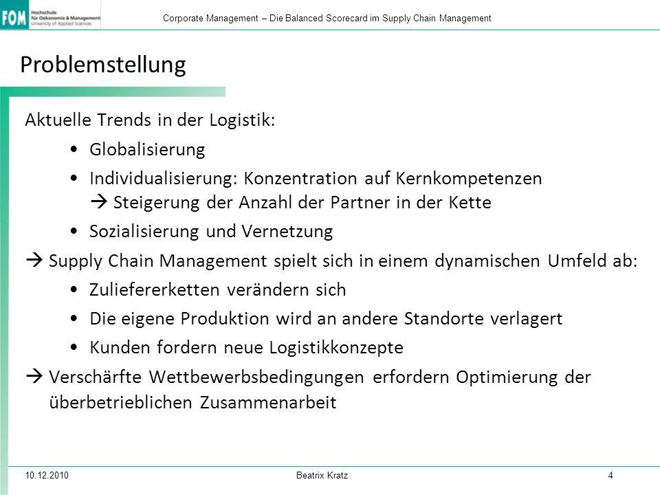 10.12.2010 Beatrix Kratz 4 Corporate Management – Die Balanced Scorecard im Supply Chain Management Problemstellung Aktuelle Trends in der Logistik: G