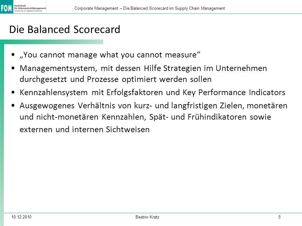 """10.12.2010 Beatrix Kratz 5 Corporate Management – Die Balanced Scorecard im Supply Chain Management Die Balanced Scorecard """"You cannot manage what you"""