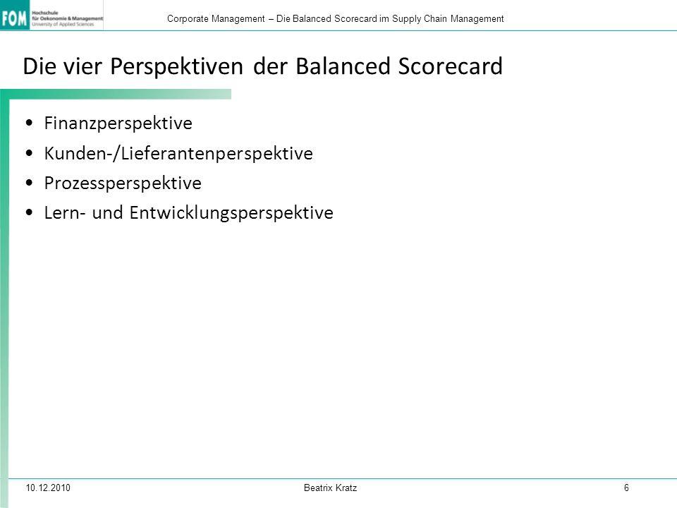 10.12.2010 Beatrix Kratz 6 Corporate Management – Die Balanced Scorecard im Supply Chain Management Die vier Perspektiven der Balanced Scorecard Finan