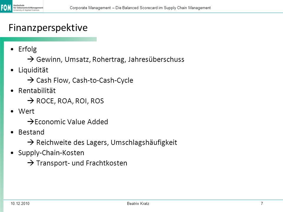 10.12.2010 Beatrix Kratz 7 Corporate Management – Die Balanced Scorecard im Supply Chain Management Finanzperspektive Erfolg  Gewinn, Umsatz, Rohertr
