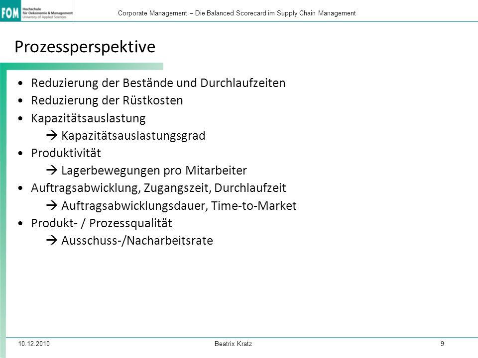 10.12.2010 Beatrix Kratz 9 Corporate Management – Die Balanced Scorecard im Supply Chain Management Prozessperspektive Reduzierung der Bestände und Du