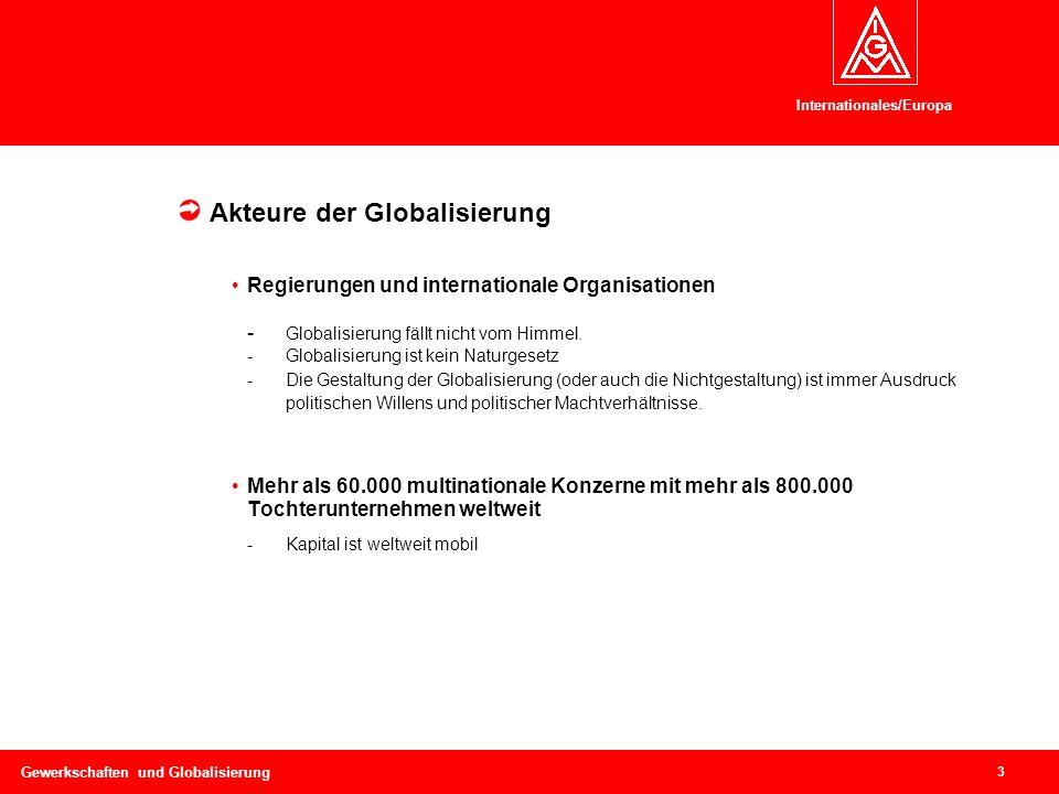 Internationales/Europa 3 Gewerkschaften und Globalisierung Kontext I: Politische und ökonomische Rahmenbedingungen Akteure der Globalisierung Regierungen und internationale Organisationen - Globalisierung fällt nicht vom Himmel.