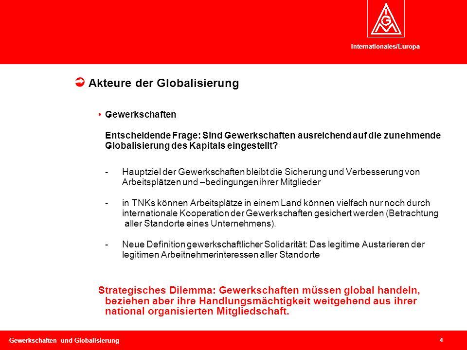 Internationales/Europa 4 Gewerkschaften und Globalisierung Kontext I: Politische und ökonomische Rahmenbedingungen Akteure der Globalisierung Gewerkschaften Entscheidende Frage: Sind Gewerkschaften ausreichend auf die zunehmende Globalisierung des Kapitals eingestellt.