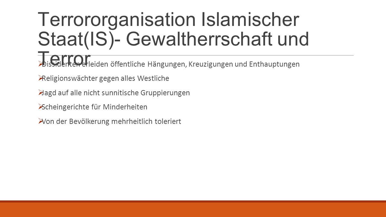 Terrororganisation Islamischer Staat(IS)- Gewaltherrschaft und Terror  Dissidenten erleiden öffentliche Hängungen, Kreuzigungen und Enthauptungen  R