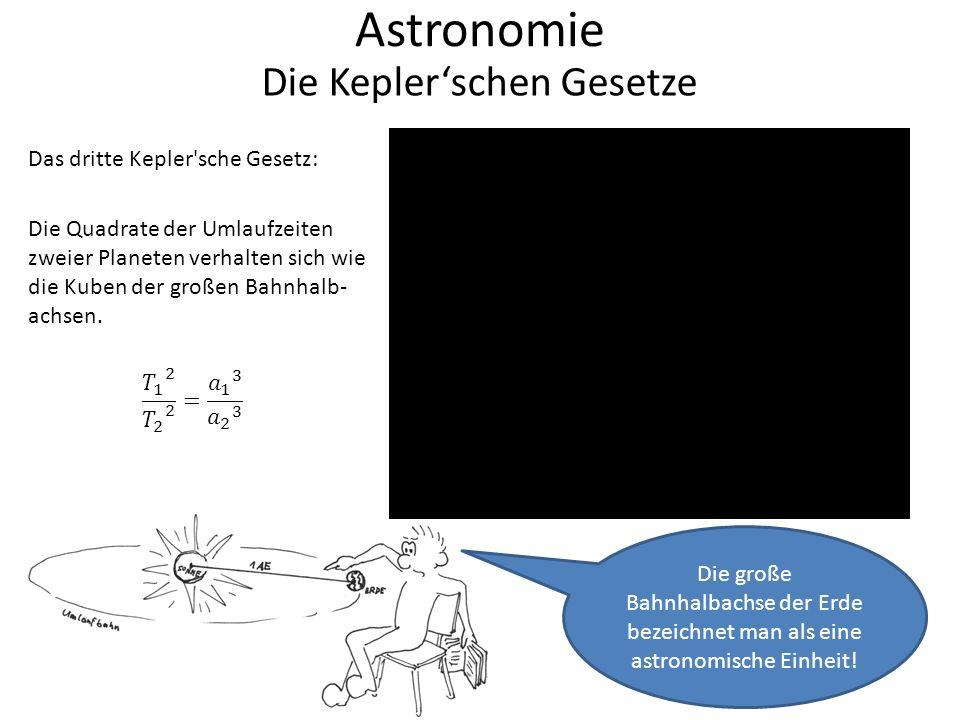 Astronomie Die Kepler'schen Gesetze Rechenbeispiel zum dritten Kepler schen Gesetz: Die Quadrate der Umlaufzeiten zweier Planeten verhalten sich wie die Kuben der großen Bahnhalbachsen.