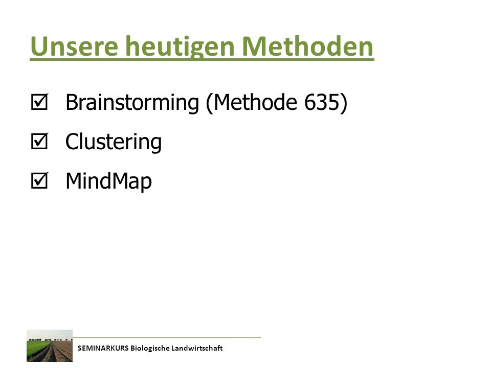 SEMINARKURS Biologische Landwirtschaft Unsere heutigen Methoden  Brainstorming (Methode 635)  Clustering  MindMap