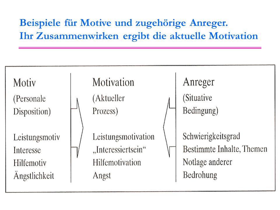 Beispiele für Motive und zugehörige Anreger. Ihr Zusammenwirken ergibt die aktuelle Motivation