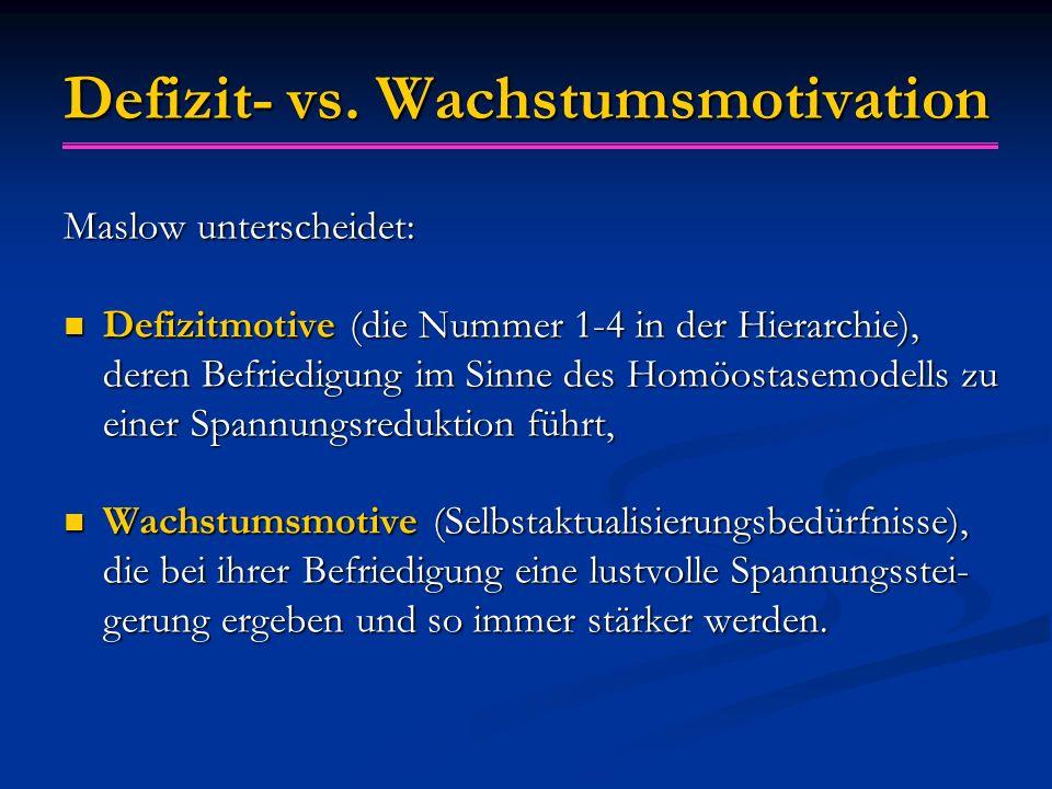 Defizit- vs. Wachstumsmotivation Maslow unterscheidet: Defizitmotive (die Nummer 1-4 in der Hierarchie), deren Befriedigung im Sinne des Homöostasemod