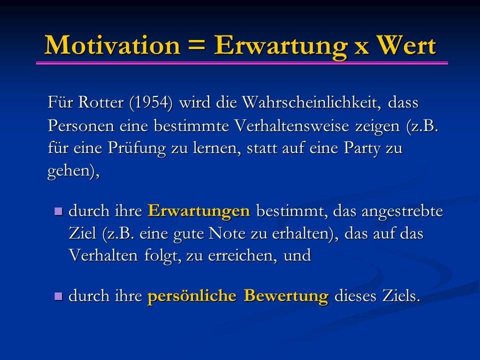 Motivation = Erwartung x Wert Für Rotter (1954) wird die Wahrscheinlichkeit, dass Personen eine bestimmte Verhaltensweise zeigen (z.B. für eine Prüfun