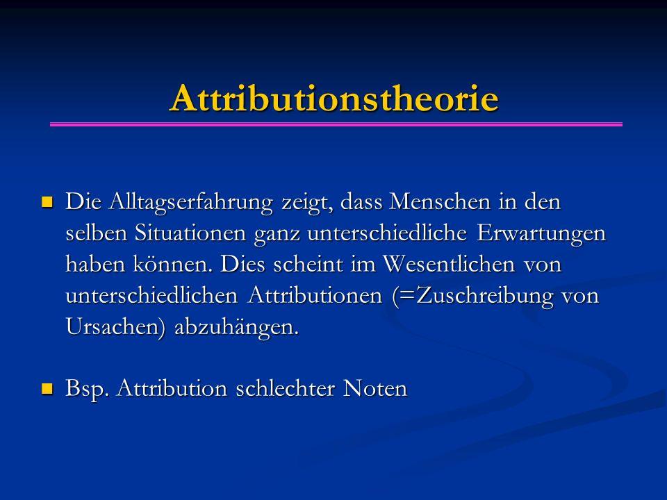Attributionstheorie Die Alltagserfahrung zeigt, dass Menschen in den selben Situationen ganz unterschiedliche Erwartungen haben können. Dies scheint i